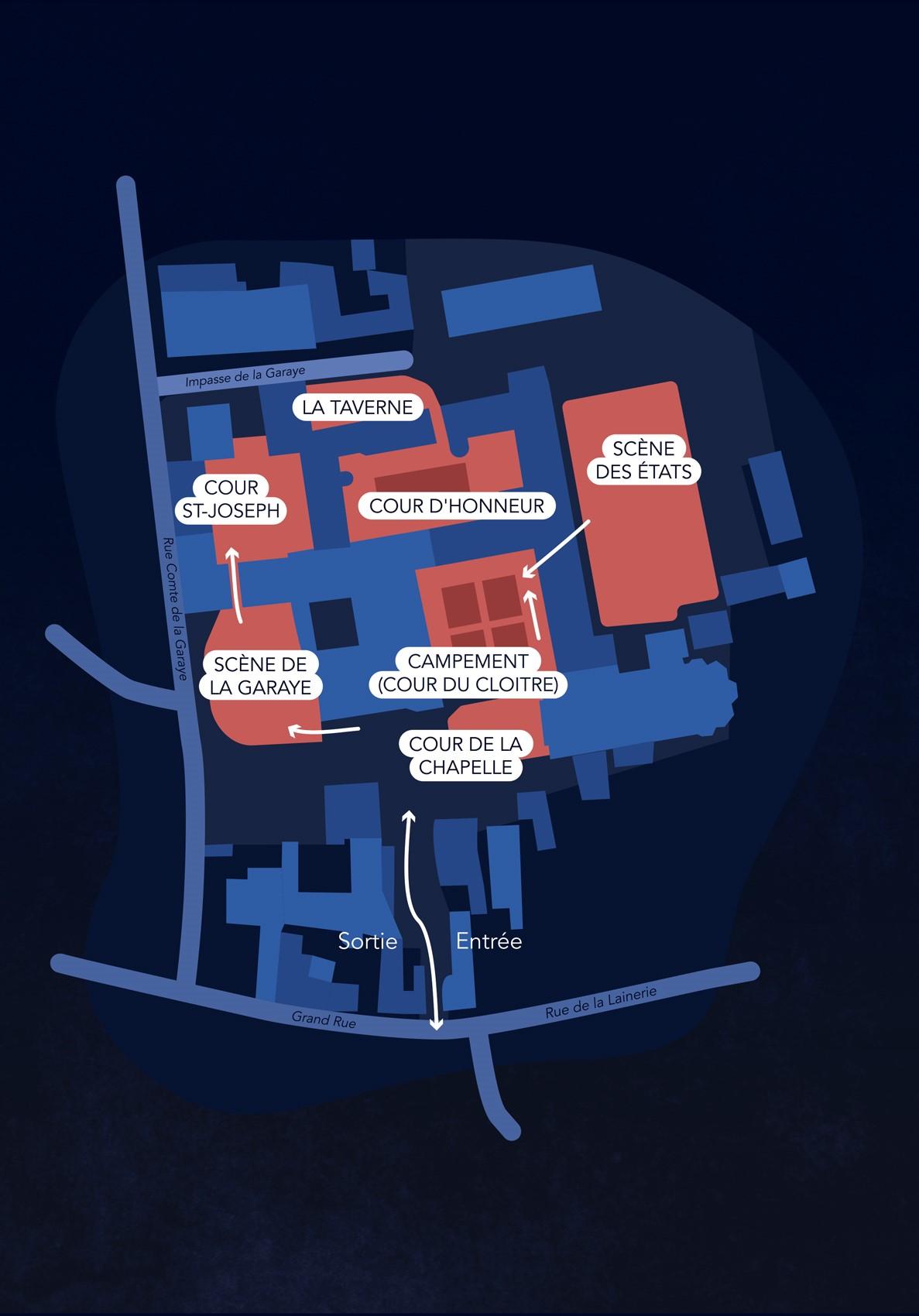 Les Remparts de l'histoire Dinan Côtes d'Armor - Le plan géographique des évènements